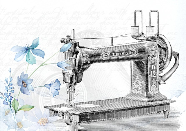 An old sewing machine next to a flower.