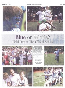 Field Day in a private school is featured in the local newspaper in Southern Pines, NC