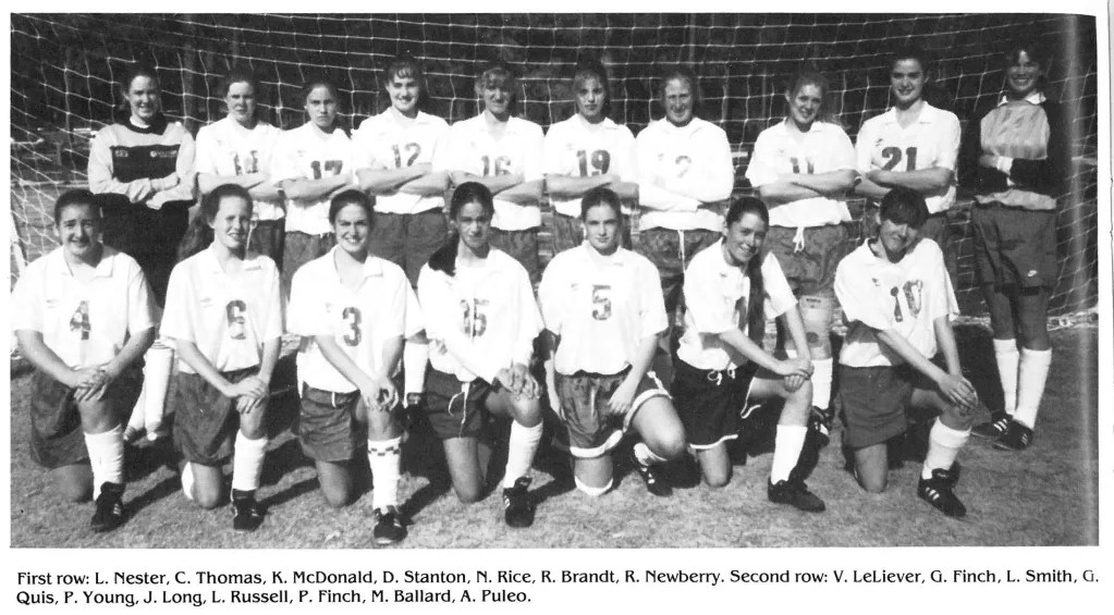 The first girls soccer team in 1994