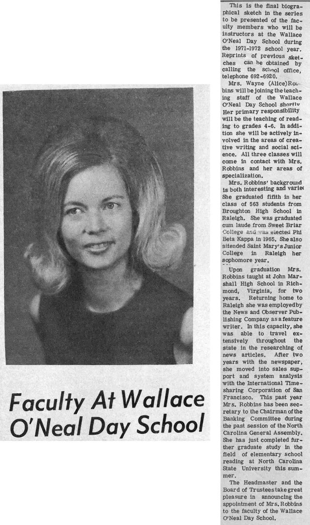 A biographical sketch of Alice Robbins published in the newspaper.