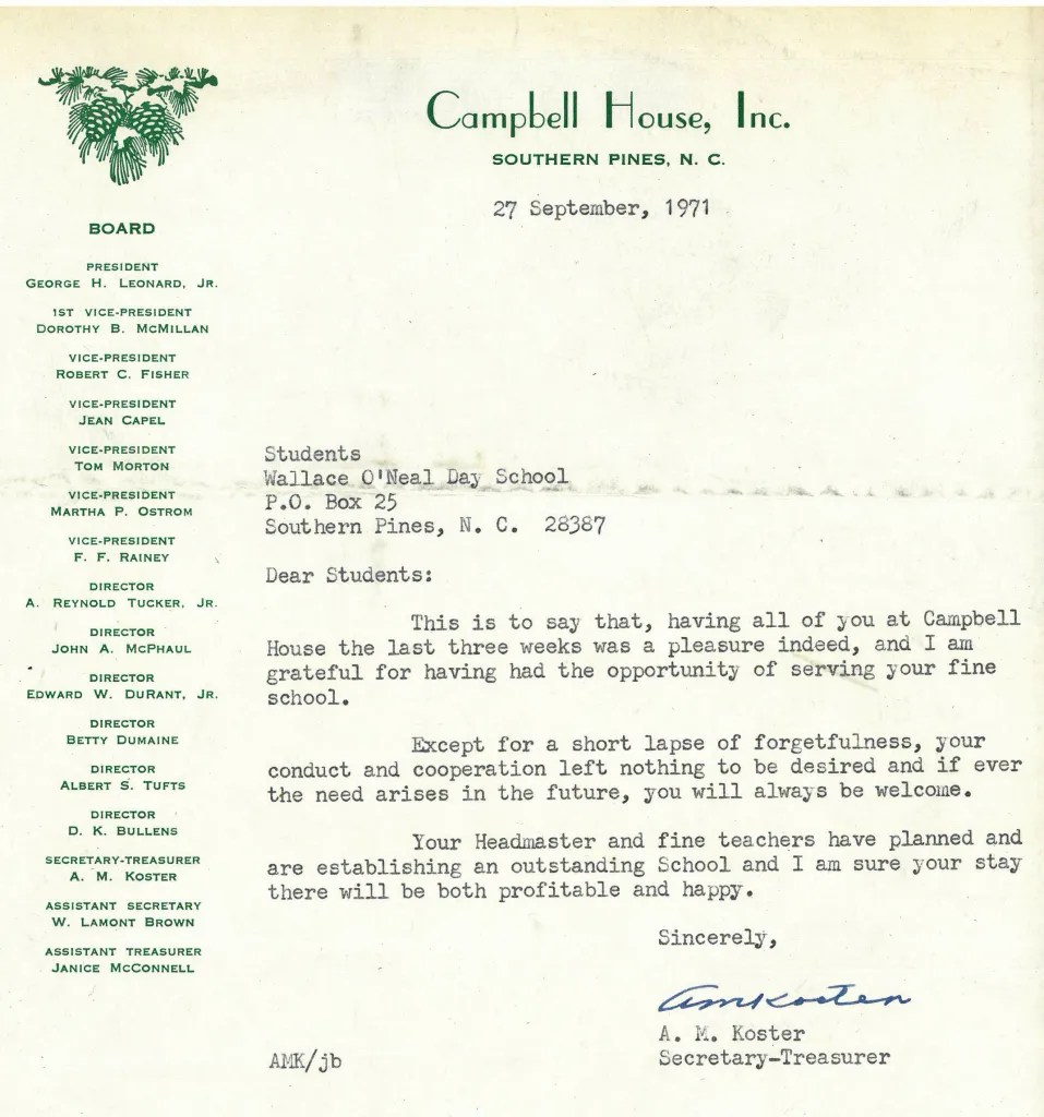 A letter to Wallace O'Neal students from the Campbell House Board of Directors.