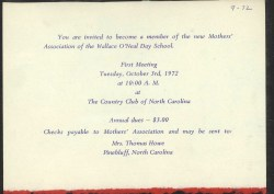 Printed invitation to parents to joing the first Mothers' Association of The O'Neal School.