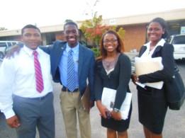 Antowine Coleman, Darius Page, Shaw University student Paula Dorsey and Colliet Bramwell