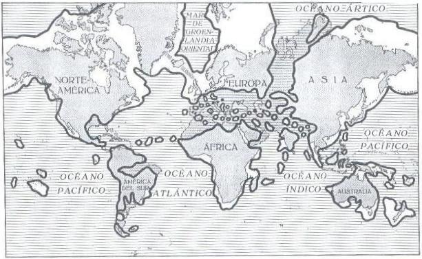 O mundo no terciário, segundo as pontes continentais.