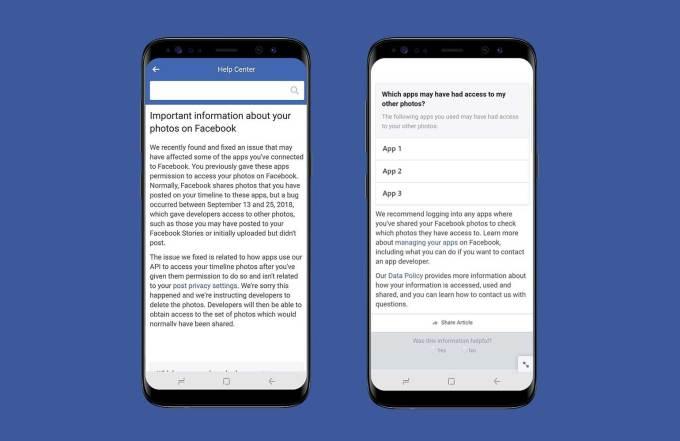 Mock up of Facebook Bug Notification