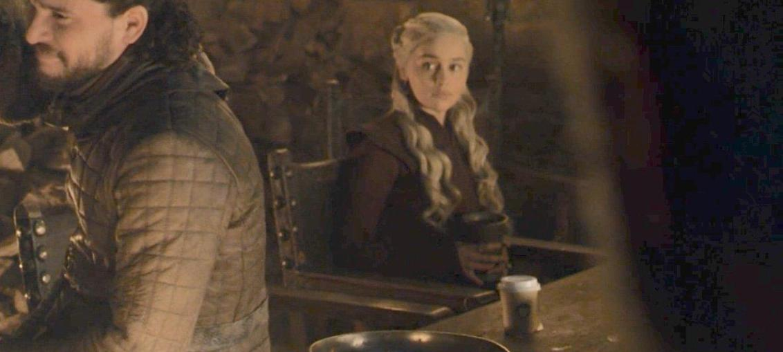 Daenerys Targaryen in the Game of Thrones episode with the Starbucks Coffee Cup