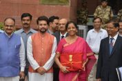 Nirmala Sitharaman with her team ahead of the the Union Budget 2019-20