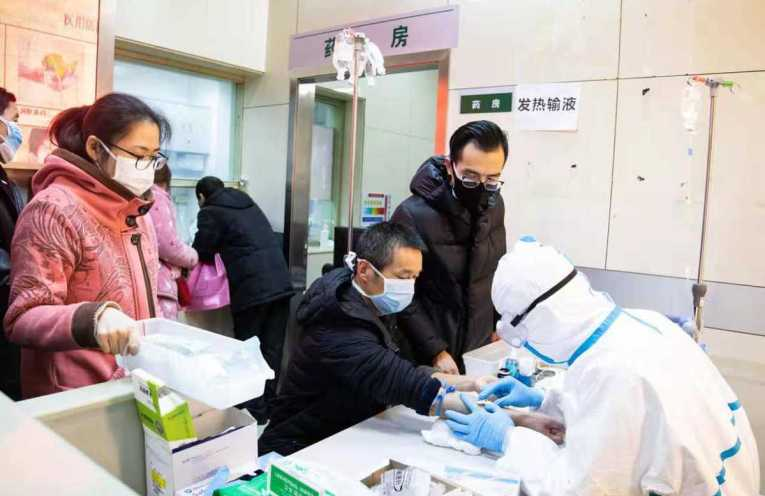 Health workers in Wuhan, China