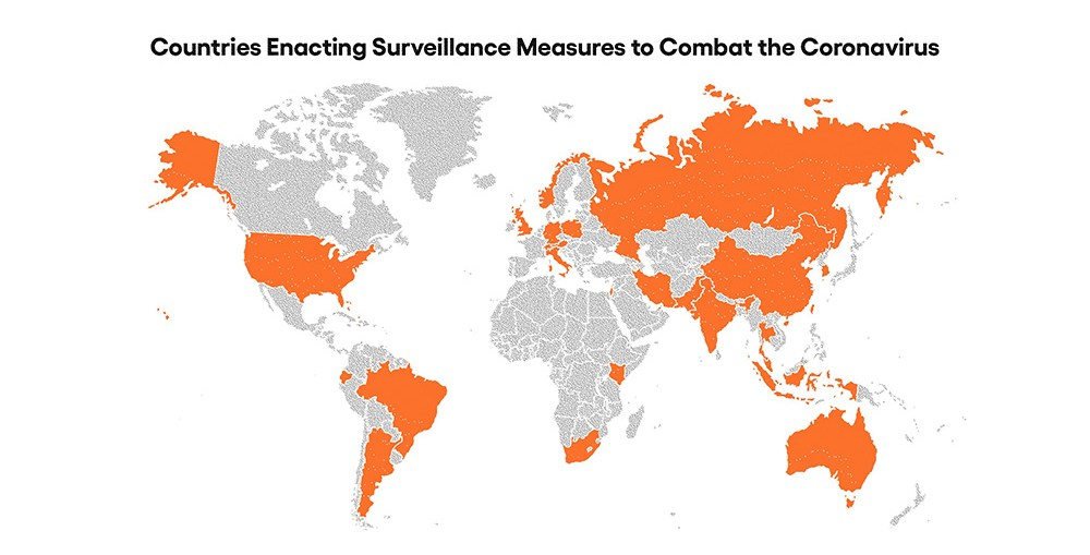 Countries that are using surveillance measures to control Novel Coronavirus COVID-19