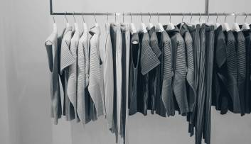 Clothes on a rail in the retail sector
