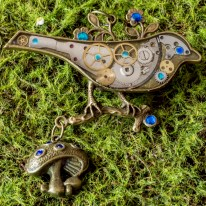 Steampunk Woodlands Blue BIrd
