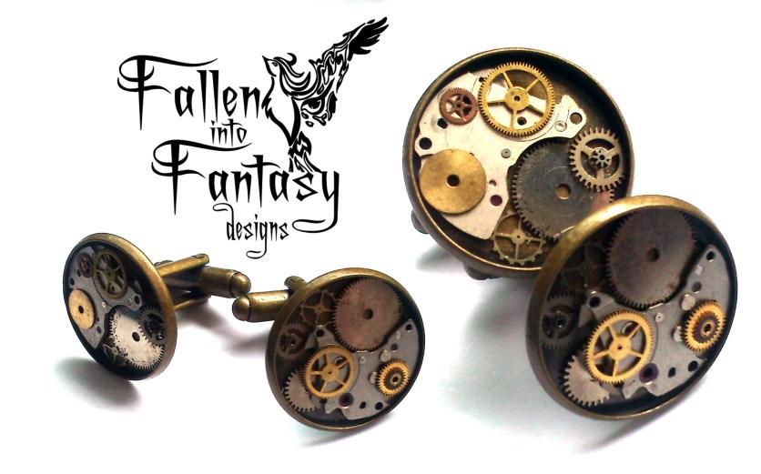 Steampunk cufflinks with resin