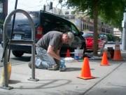 Clark Wiegman installing Leaves at FASC