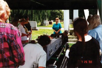 Graveside service, with Reverend Pat Simpson