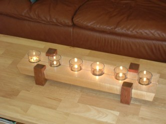 Maple and Cherry Candle Holder