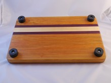 Cherry Cutting Board With Maple and Purple Heart Stripes