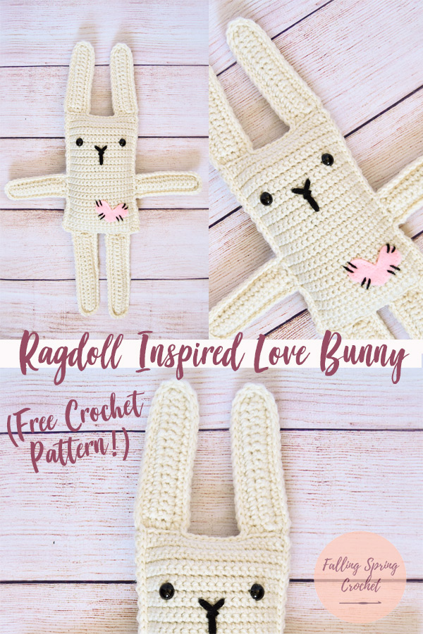 Falling Spring Crochet Ragdoll Inspired Love Bunny Crochet Pattern Sample Image for Blog
