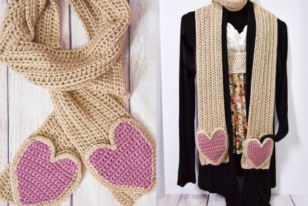 Falling Spring Crochet Scarf with Heart Shaped Pockets Free Crochet Pattern Featured Image