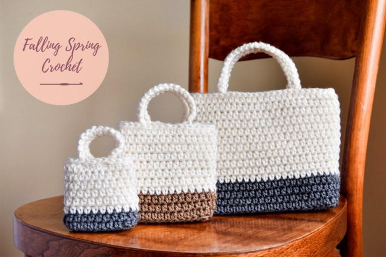 Falling Spring Crochet Easy Gift Bag Crochet Pattern in 3 Sizes