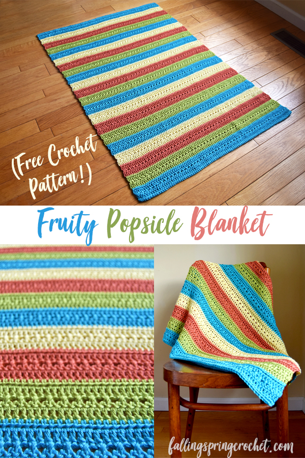 Falling Spring Crochet Fruity Popsicle Blanket Free Crochet Pattern Featured Image for Blog