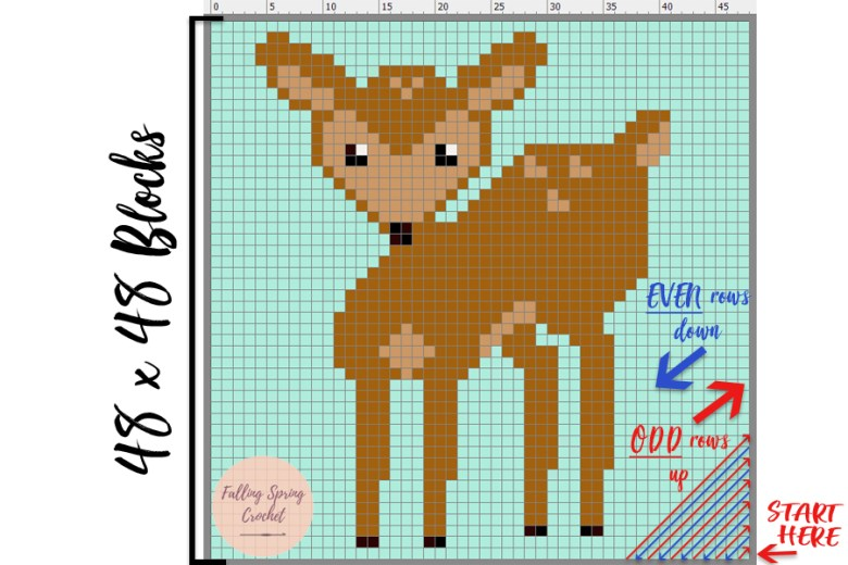 Fawn Corner to Corner Baby Blanket Graph Tutorial Image