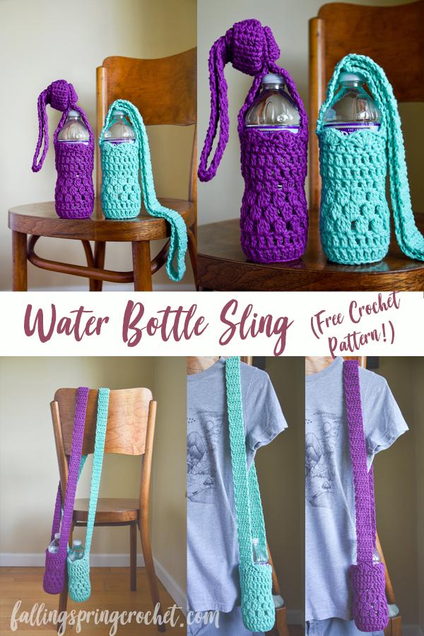 Falling Spring Crochet Water Bottle Sling Crochet Pattern Pinterest Image