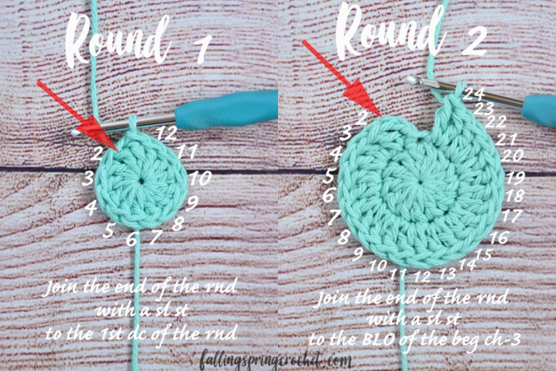 Falling Spring Crochet Water Bottle Sling Crochet Pattern Rounds 1 and 2