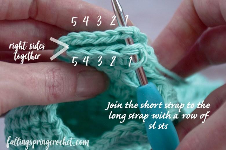 Falling Spring Crochet Water Bottle Sling Crochet Pattern Seaming the Straps Image