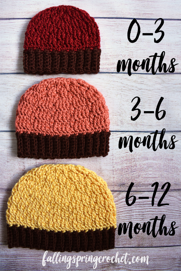 Falling Spring Crochet Fall Baby Beanie Crochet Pattern Size 0-12 Months