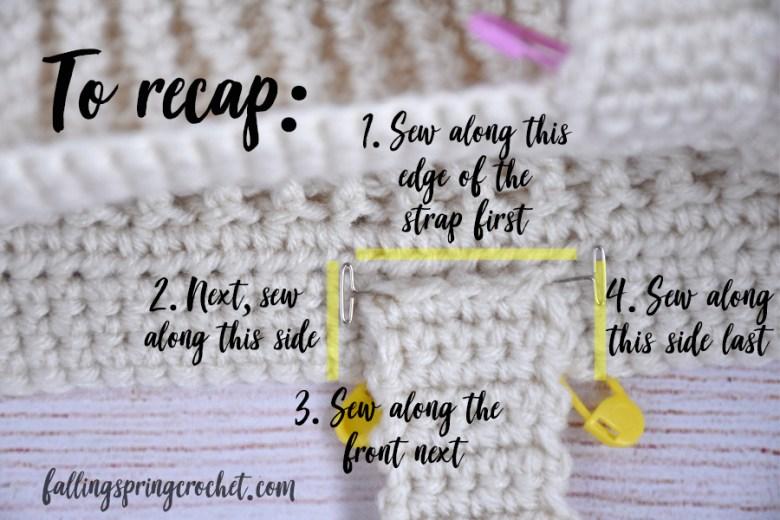 Falling Spring Crochet Easy Tote Bag Crochet Pattern Handle Placement Recap Image