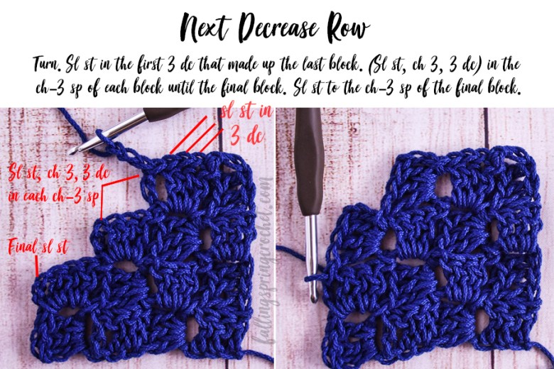 This image shows the second decrease row (Row 35) of the Cozy Corner to Corner Afghan.