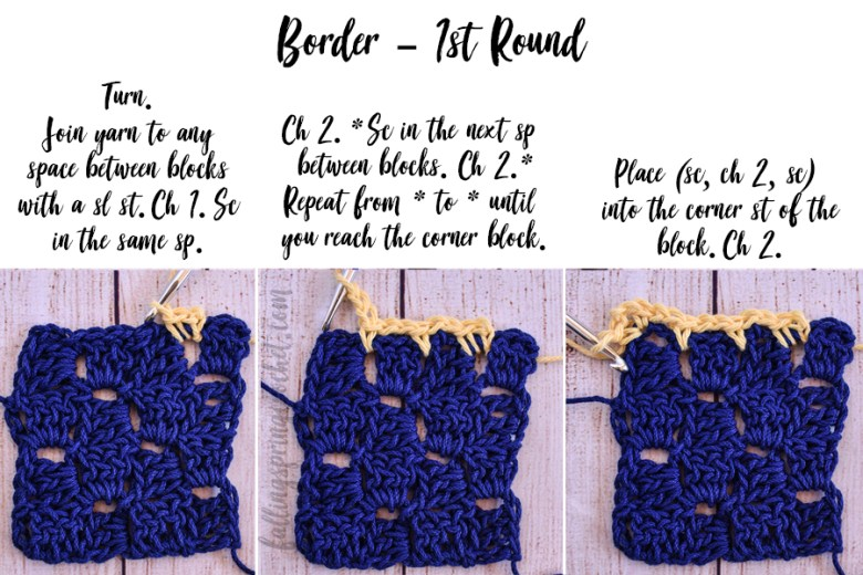 This image shows the first border round of the Cozy Corner to Corner Afghan.