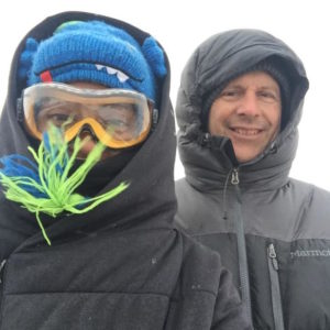 Lyssa and Ed braving the blizzard en route to the meeting of elders in the dome.