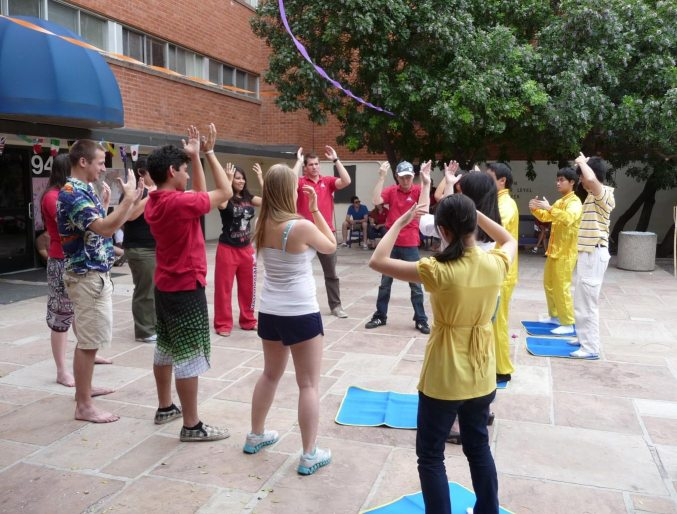 Students at the University of Arizona learning the Falun Gong exercises