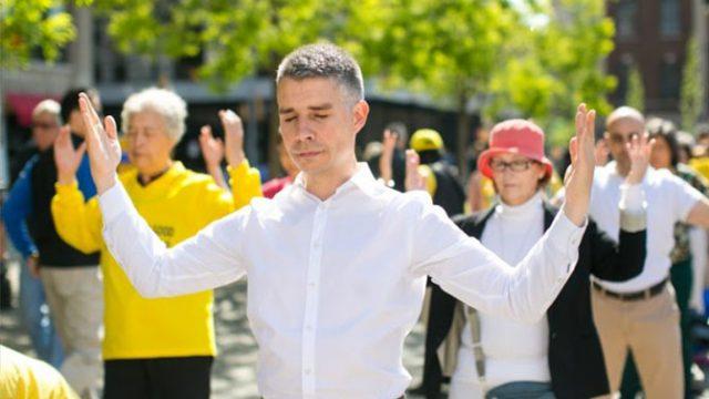 Falun Dafa practitioners exercising in US