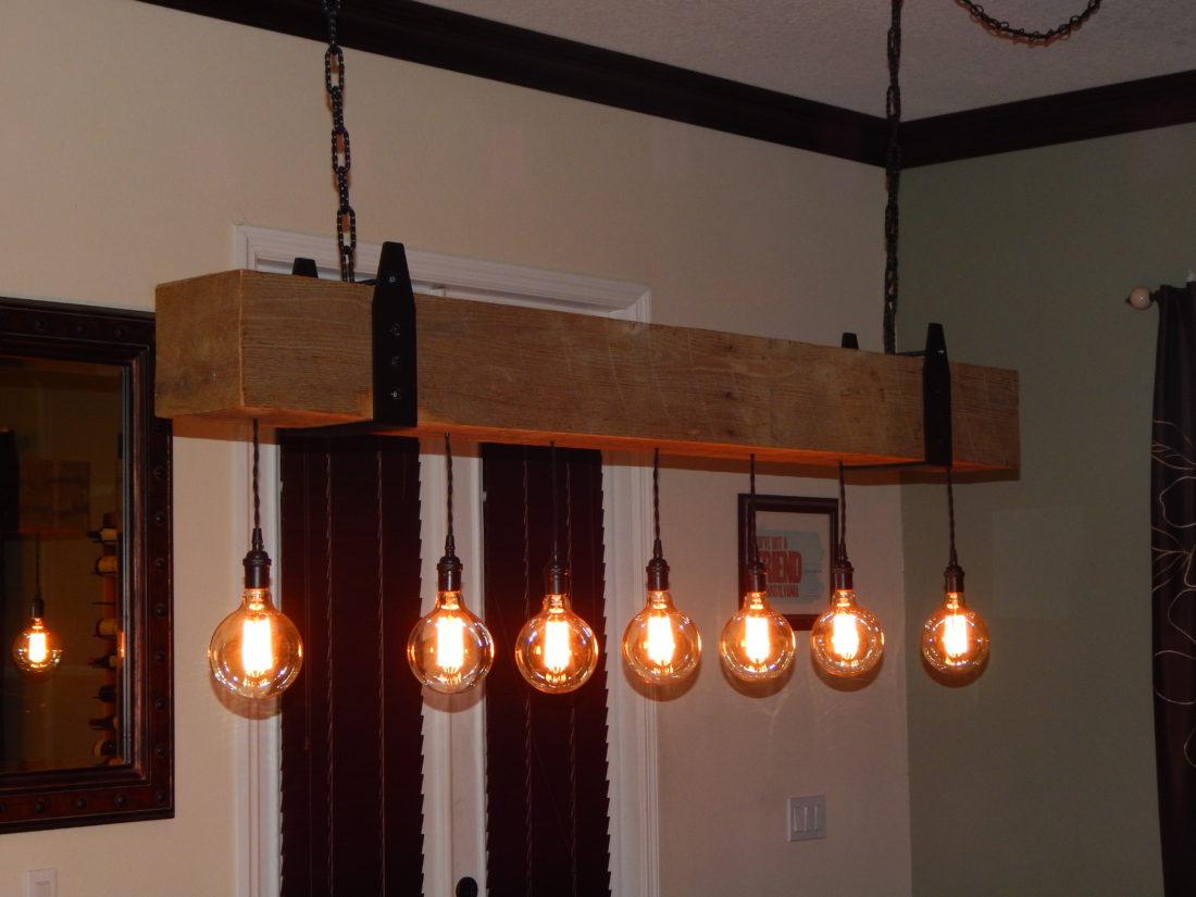Reclaimed Wood Beam Chandelier With Edison Globe Lights
