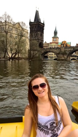 Paddle boating on the river