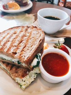 Jordan and I ate breakfast at Urth Caffe in Santa Monica before we parted ways. I had a delicious and filling egg and spinach panini.
