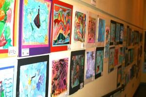 Fusion Of Concert Colors Artwork Hanging At Fort Wayne Museum Of Art