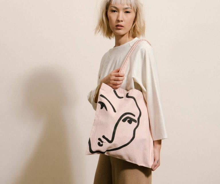 Sturdy Minimalist Tote Bags With Abstract Faces