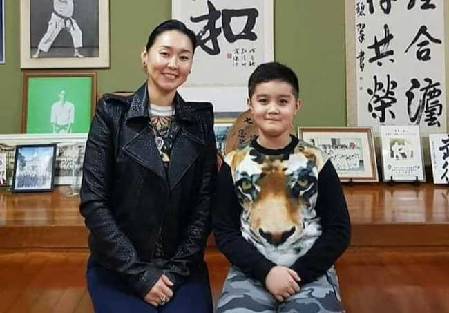 Kunzang Seagal with mother Erdenetuya Seagal