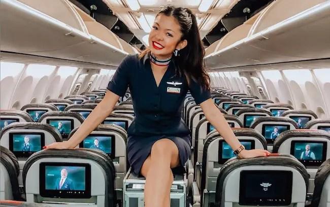Serena Chew in Flight Attendant Uniform.