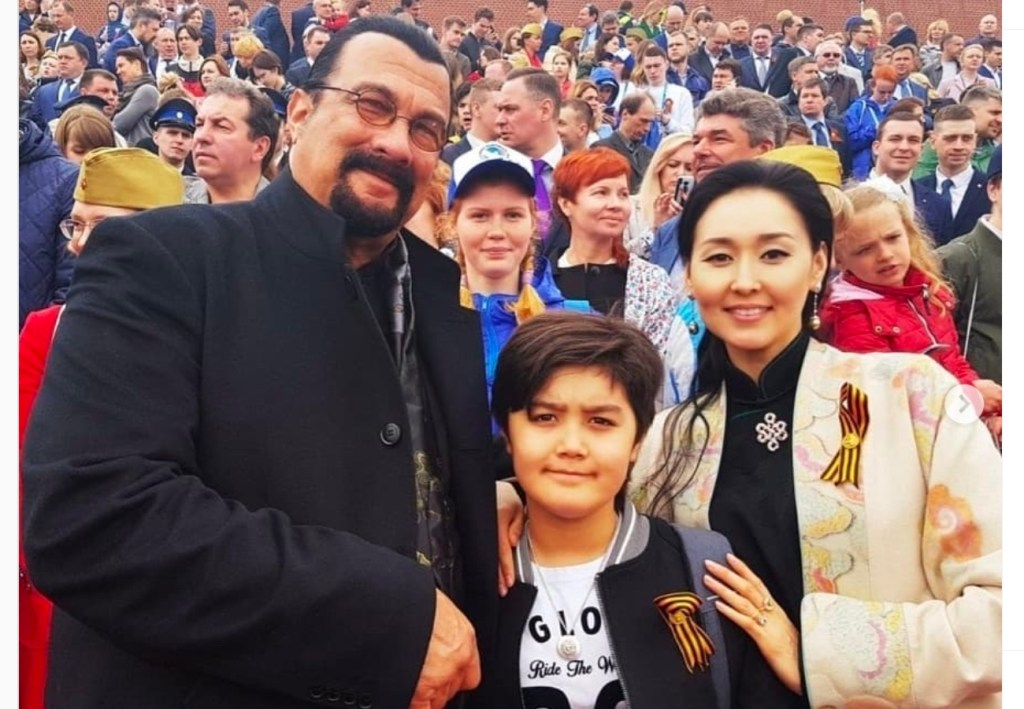 Steven Seagal with wife Erdenetuya and son Kunzang Seagal