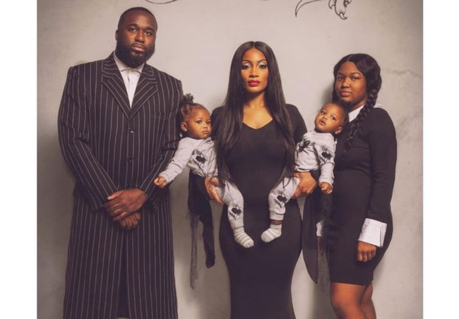 Erica Dixon with daughters and partner