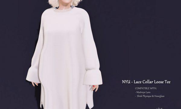 Lace Collar Loose Tee. ★ L$188 per single.