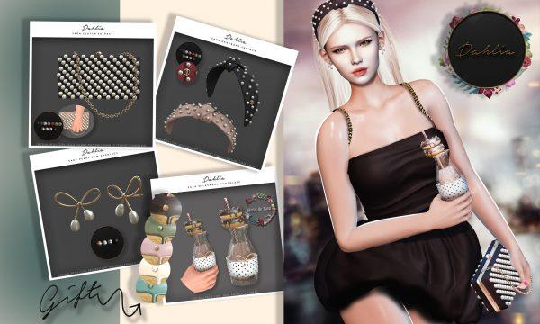 Sara - Pearl Bow Earrings, Milkshake, Clutch, Headband. Earrings is L$199 / Milkshakes is L$149 each / Clutch is L$165 each / Headband is L$165 each. Fatpack is L$1,499. 🎁