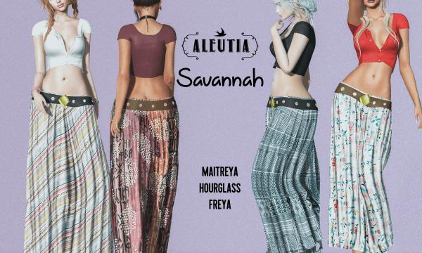 Savannah Shirt & Skirt. Shirt is L$250 each. Skirt is L$250 each. Shirt or Skirt Fatpack is L$1,299 each. Combo Fatpack is L$2,399. ★ 🎁
