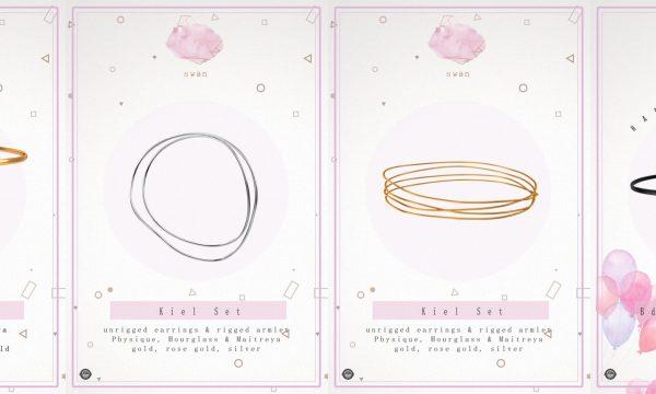 Kiel Set - Earrings & Armlet / Adna Anklet. Earrings & Armlet is L$250. Anklet is L$222. 🎁