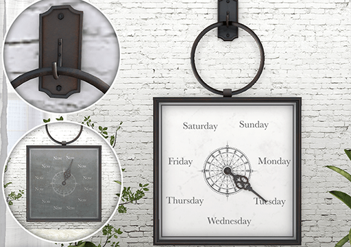 Ringed Frames & Ringed Clock.  Ringed Frames is L$179L. Ringed Clock is L$199.
