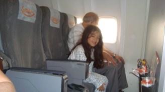 De pijama, no avião